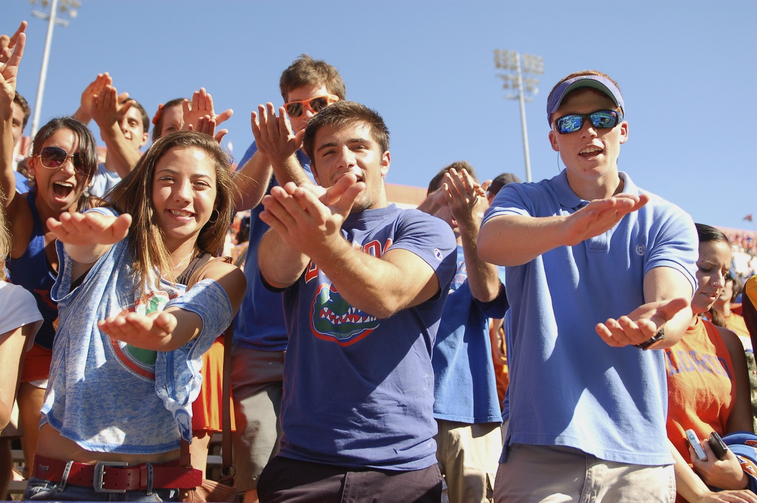 Florida fans celebrate the victory over the Missouri Tigers after Saturday's game.