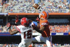 The pass to Jamal Robinson in the endzone (15) was incomplete in the second half of Saturday's game.