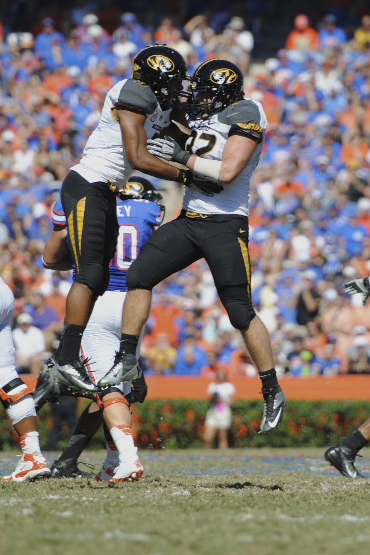 Missouri players celebrate after Missouri blocked a punt of the Florida Gators in the first quarter of Saturday's game.