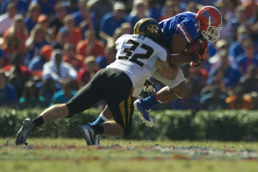 Florida's Jordan Reed (11) is taken down by Missouri defense Saturday afternoon.