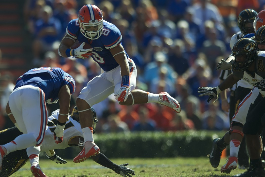 Runningback Trey Burton gets a first down for the Florida Gators Saturday afternoon against the Missouri Tigers.