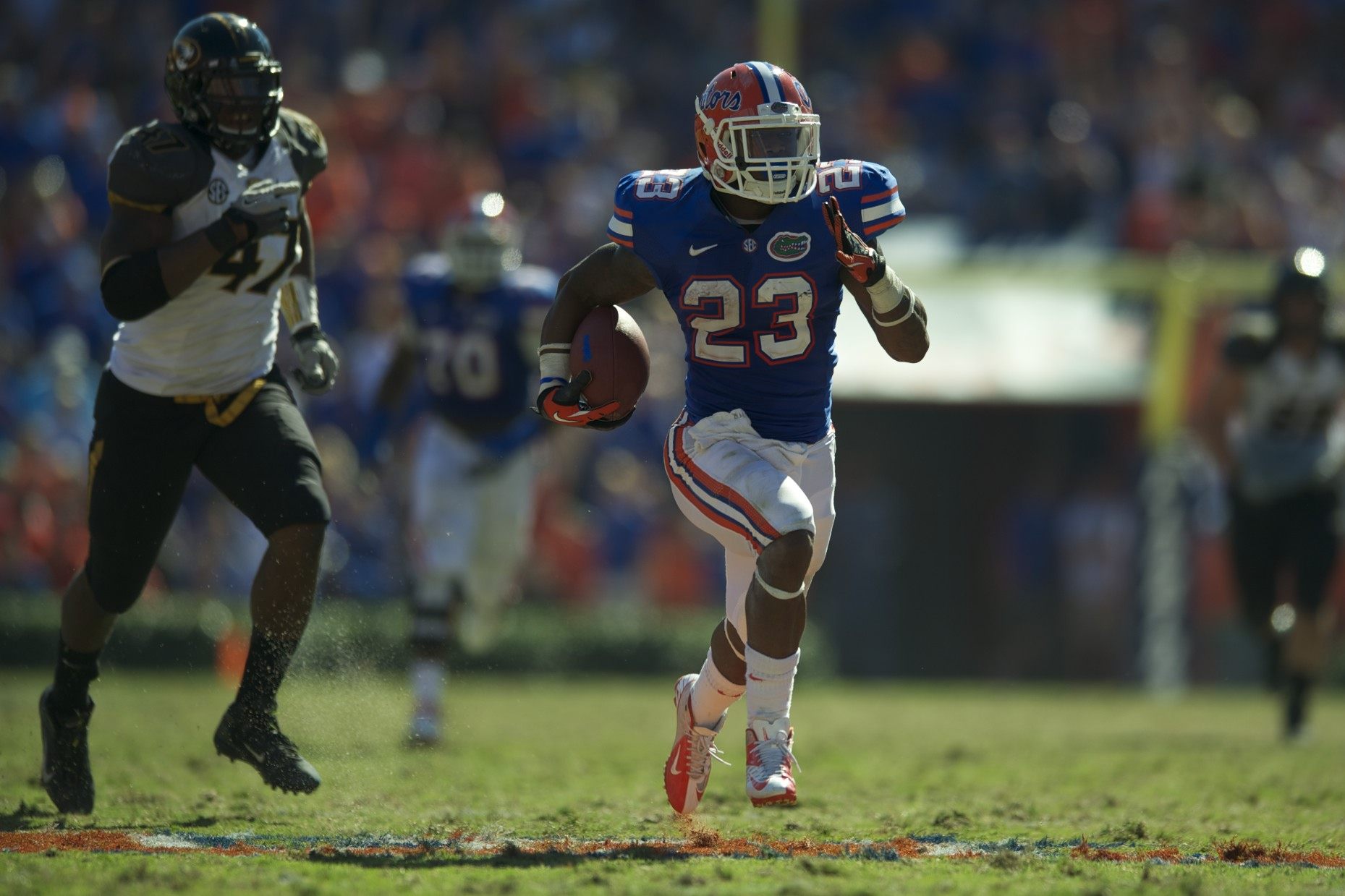 Mike Gillislee scored the second touchdown for Florida in the second half of Saturday's game against the Missouri Tigers.