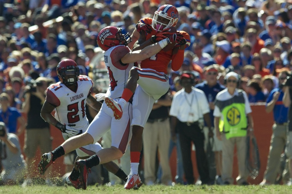 Wide receiver Quinton Dunbar (1) gets a first down for the Florida Gators in the first half of Saturday's game.