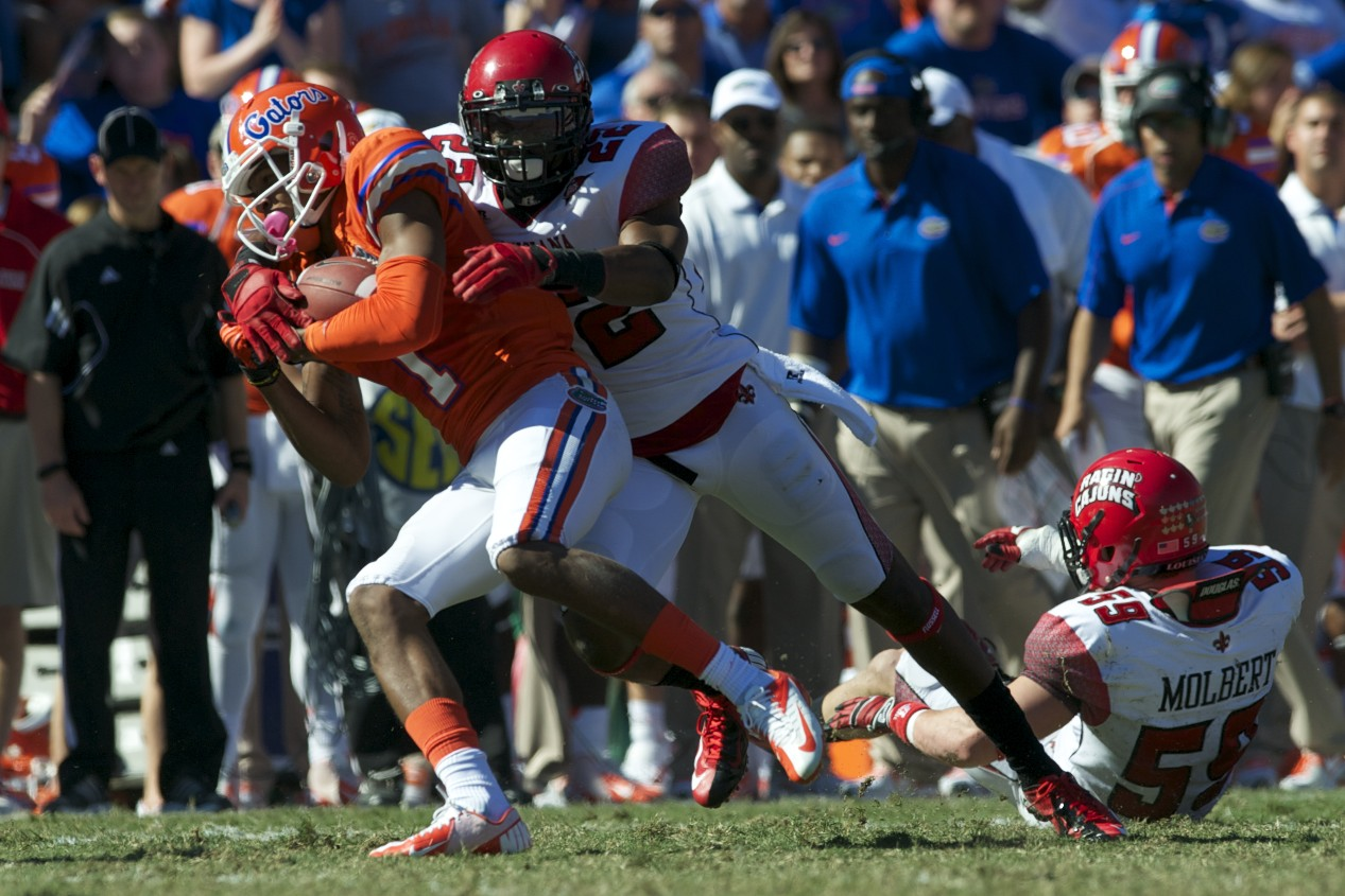 Wide receiver Quinton Dunbar (1) gets a first down for the Florida Gators in the second half of Saturday's game.