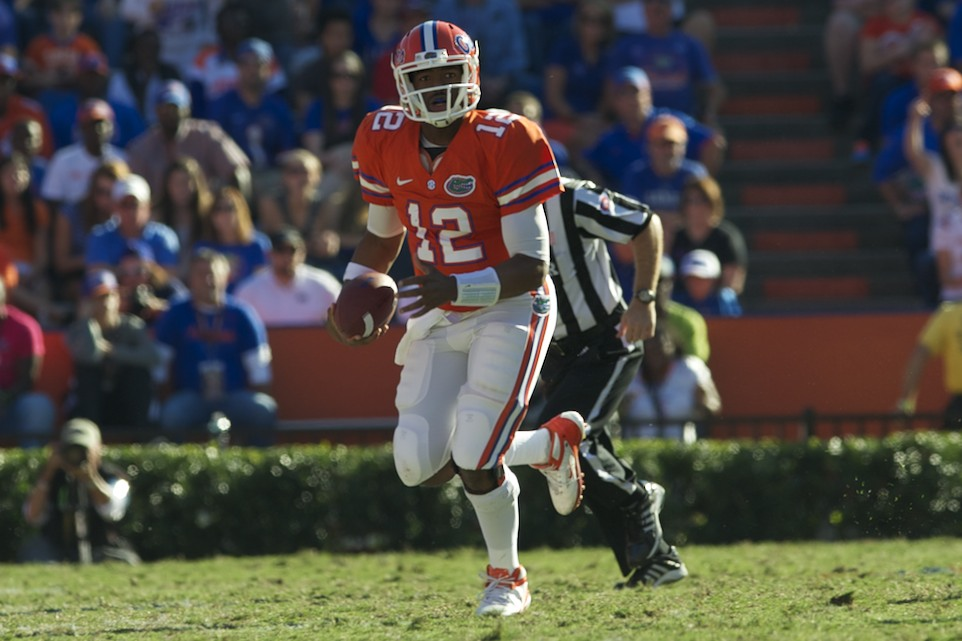 Quarterback Jacoby Brissett (12) came in for Jeff Driskel after Driskel left the field with an injured ankle in the third quarter.