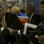 Alabama State head coach Lewis jackson looks down his bench for a substitution during Sunday afternoon's game against the Florida Gators.