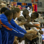 The Florida bench celebrates after Florida scores in the second half of Sunday's game.