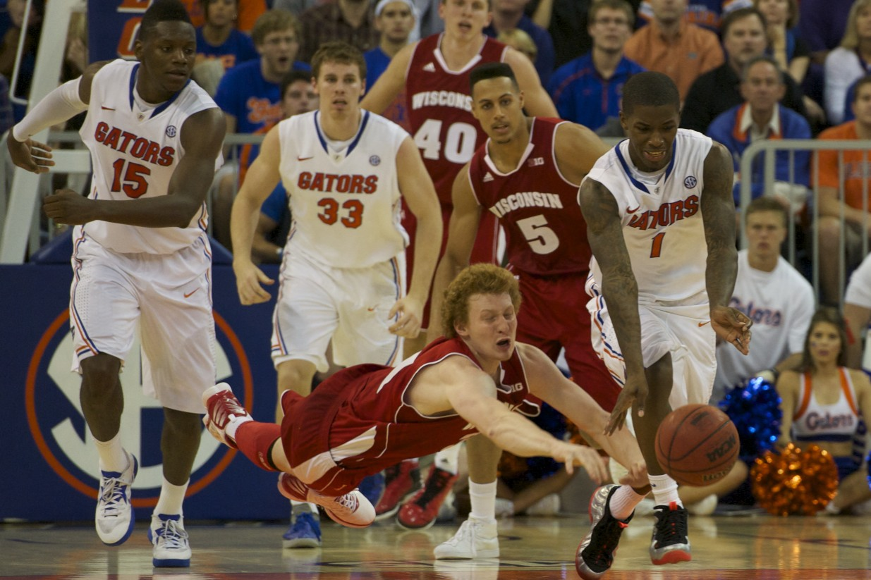 Kenny Boynton (1) gets a steal for the Gators in the second half of Wednesday's game.