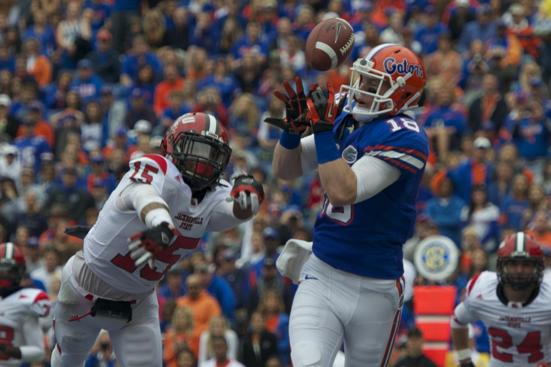 Florida's Kent Taylor drops quarterback Jacoby Brissett's throw in the second quarter of Saturday's game against the Jacksonville State Gamecocks.