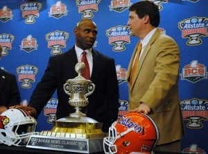 Coaches Charlie Strong and Will Muschamp in New Orleans