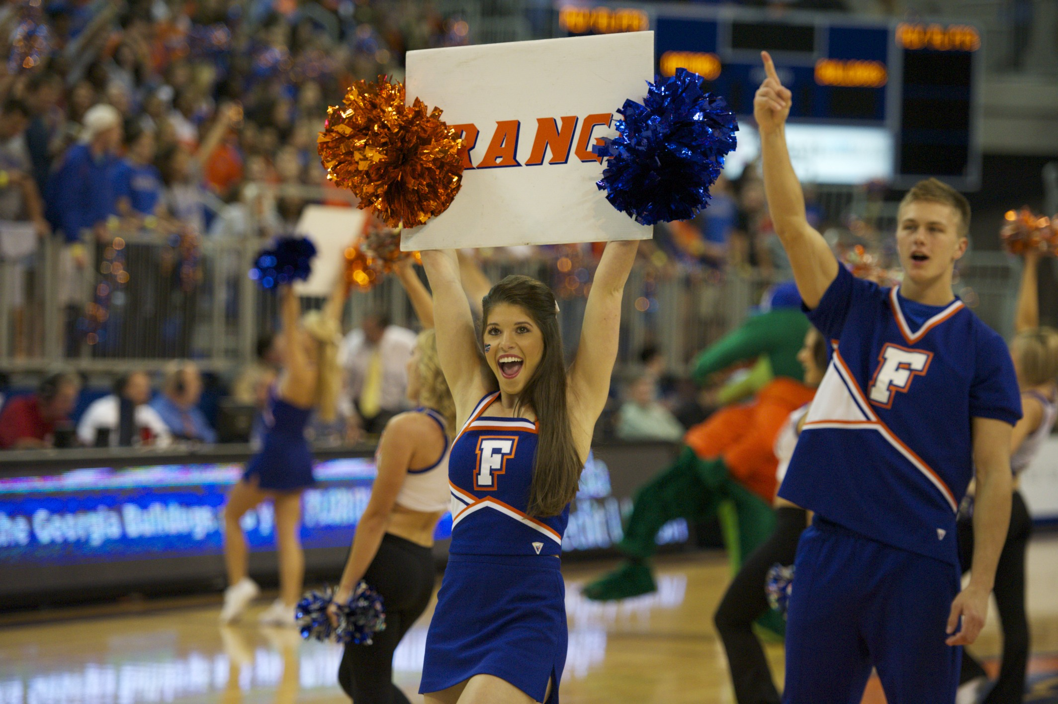Florida cheerleaders rally fans before the game against the Georgia Bulldogs Wednesday night.