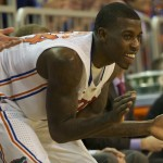 Casey Prather (24) cheers on his teammates from the bench in the second half of Wednesday's game.