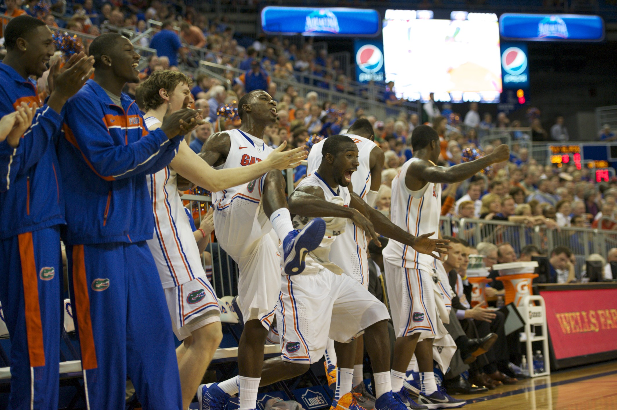 Florida's bench celebrated through the last minute of the game as they took the victory over Gerogia, 77-44.