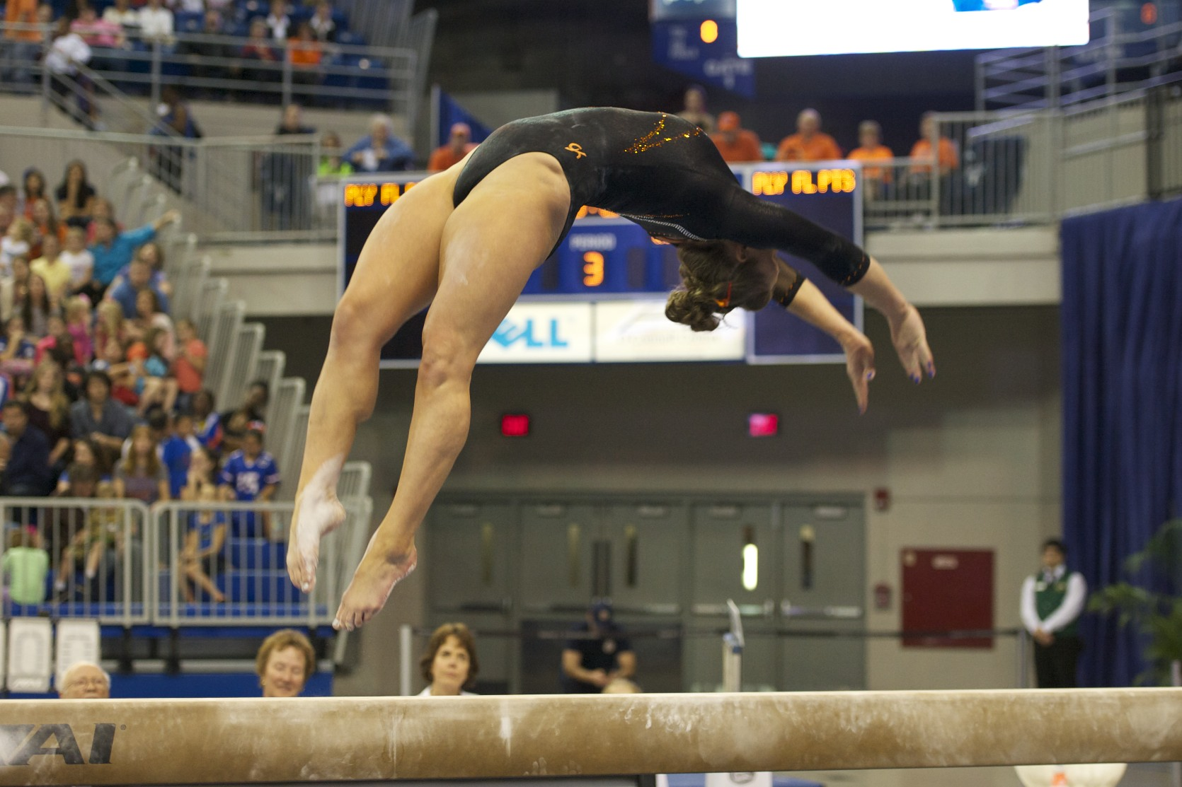 Rachel Spicer competes on beam Friday night.