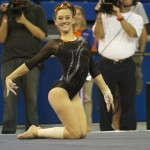 Kiersten Wang competes on floor Friday night against Kentucky.
