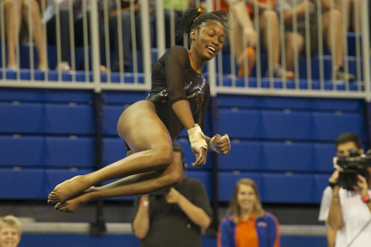 Ashanee Dickerson competes on floor Friday night against the Kentucky Wildcats.