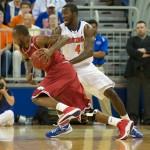 Patric Young (4) plays defense against Arkansas Saturday night.