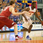 Patric Young (4) had 14 points for the Florida Gators Saturday night against the Arkansas Razorbacks.