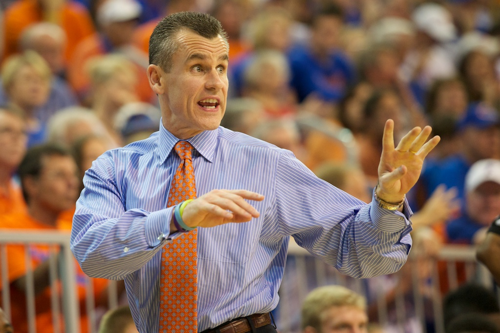 Florida head coach Billy Donovan coaches his team from the sidelines Saturday night.
