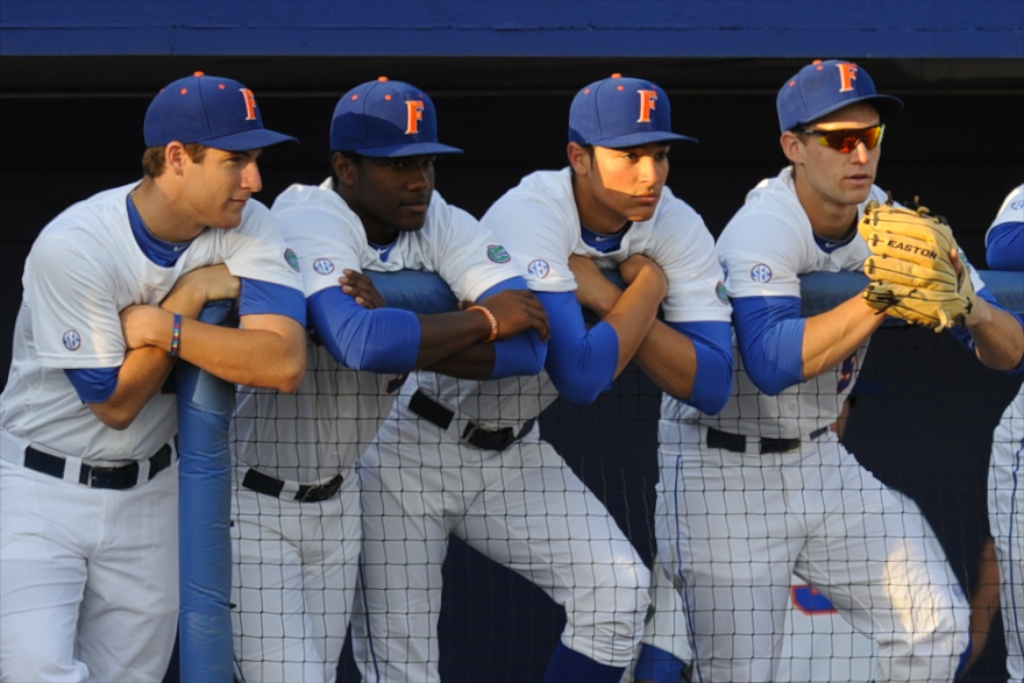 The Florida Baseball Team awaits the start of the first game in the series against Ole Miss Friday night. The Gators lost to Ole Miss 4-3 Friday night in an 11-inning game at McKeethan Stadium.