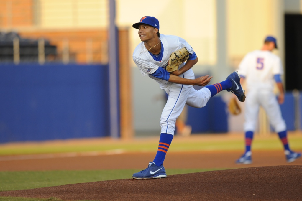 Jay Carmichael (4) was the starting pitcher for the Florida Gators Friday night. The Gators lost to Ole Miss 4-3 Friday night in an 11-inning game at McKeethan Stadium.