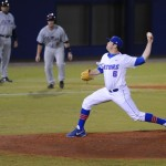 Pitcher Daniel Gibson (6) was the second pitcher for the Gators Friday night. The Gators lost to Ole Miss 4-3 Friday night in an 11-inning game at McKeethan Stadium.