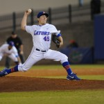 Johnny Magliozzi (45) was the third pitcher for the Gators Friday night. The Gators lost to Ole Miss 4-3 Friday night in an 11-inning game at McKeethan Stadium.