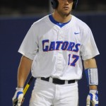 Taylor Gushue (17) was the final out in Friday's game at the bottom of the 11th inning. The Gators lost to Ole Miss 4-3 Friday night in an 11-inning game at McKeethan Stadium.