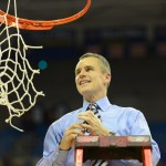 Florida head coach Billy Donovan makes the final cut to a net Wednesday night after winning the SEC title. Credit: Christine Casey