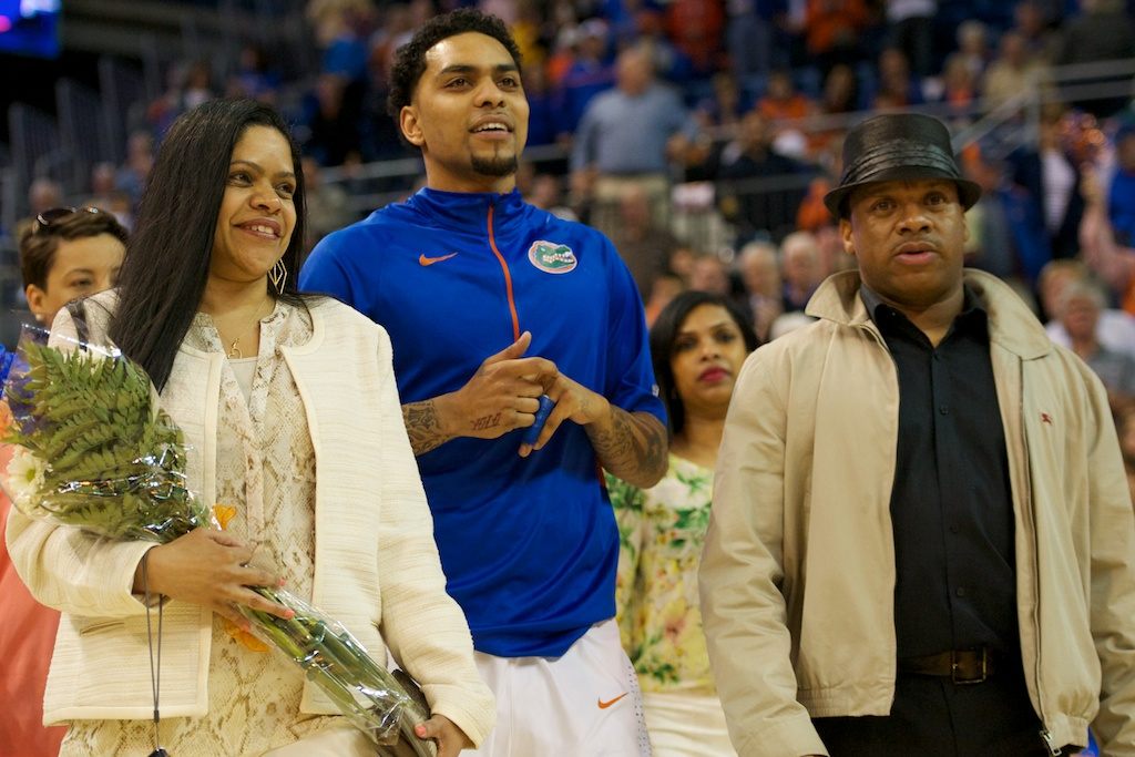 Guard Mike Rosario (3) is honored at the senior ceremony prior to the game against the Vanderbilt Commodores Wednesday night.