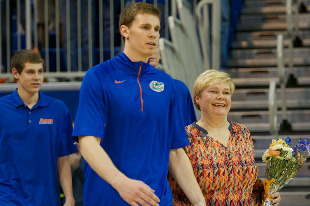 Erik Murphy (33) is honored at the senior ceremony prior to the game Wednesday night.