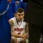 Scottie Wilbekin (5) at timeout in the second half of Wednesday night's game.