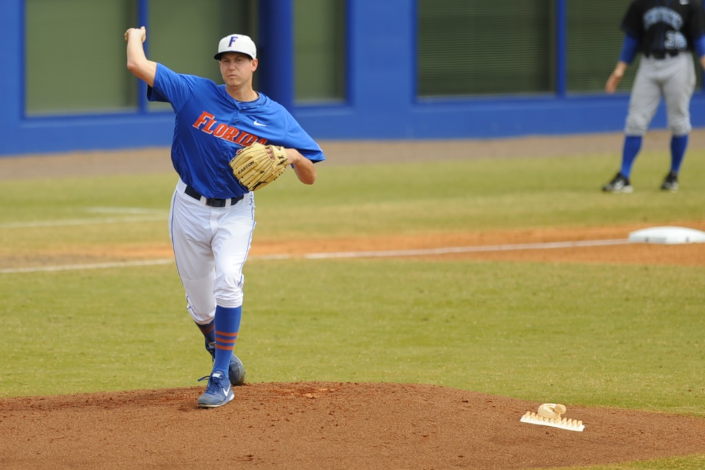 Pitcher and freshman Eric Hanhold (25)