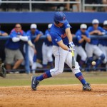 Sophomore Taylor Gushue (17) gets a hit for the Florida Gators Sunday.