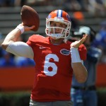 Quarterback Jeff Driskel (6) practices during a drill Saturday afternoon at the Orange and Blue Debut.