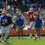 Quarterback Jeff Driskel (6) practices in a scrimmage Saturday afternoon at the Orange and Blue Debut.