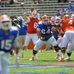 Quarterback Jeff Driskel (6) practices during a scrimmage Saturday afternoon at the Orange and Blue Debut.