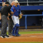 Florida catcher, Taylor Gushue (17), shakes hands with the umpires before the game Friday night. Florida defeated South Carolina 4-3 Friday night.