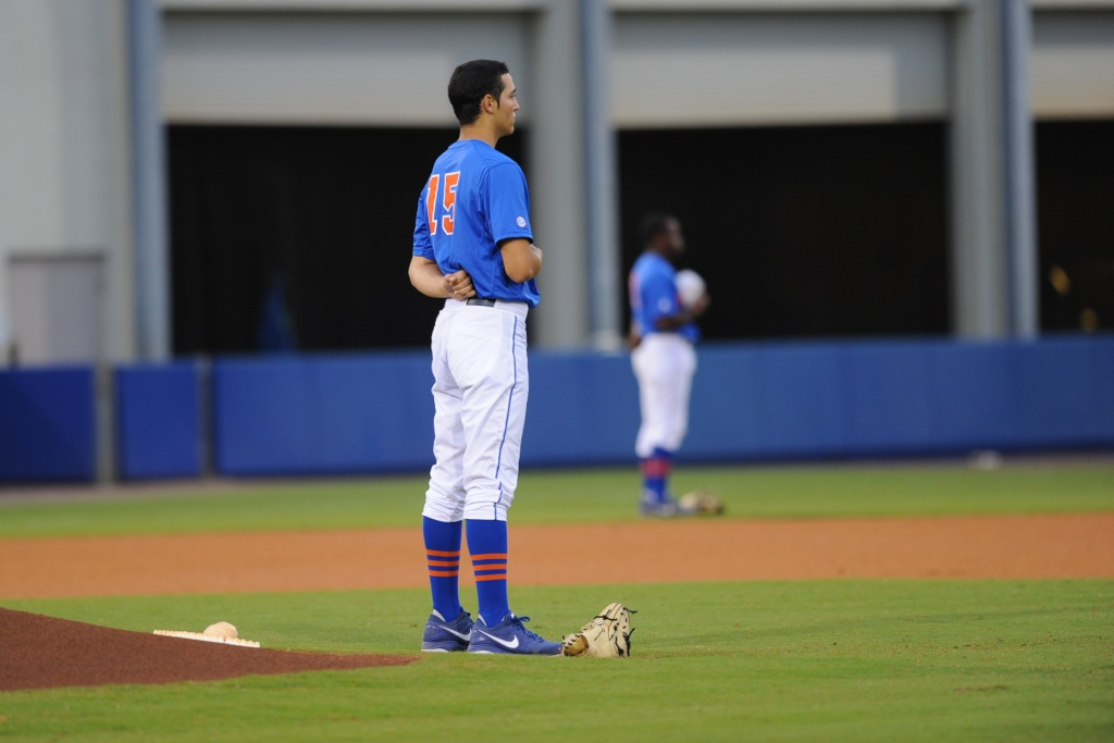 Florida pitcher, Danny Young (15), during the national anthem. Florida defeated South Carolina 4-3 Friday night.