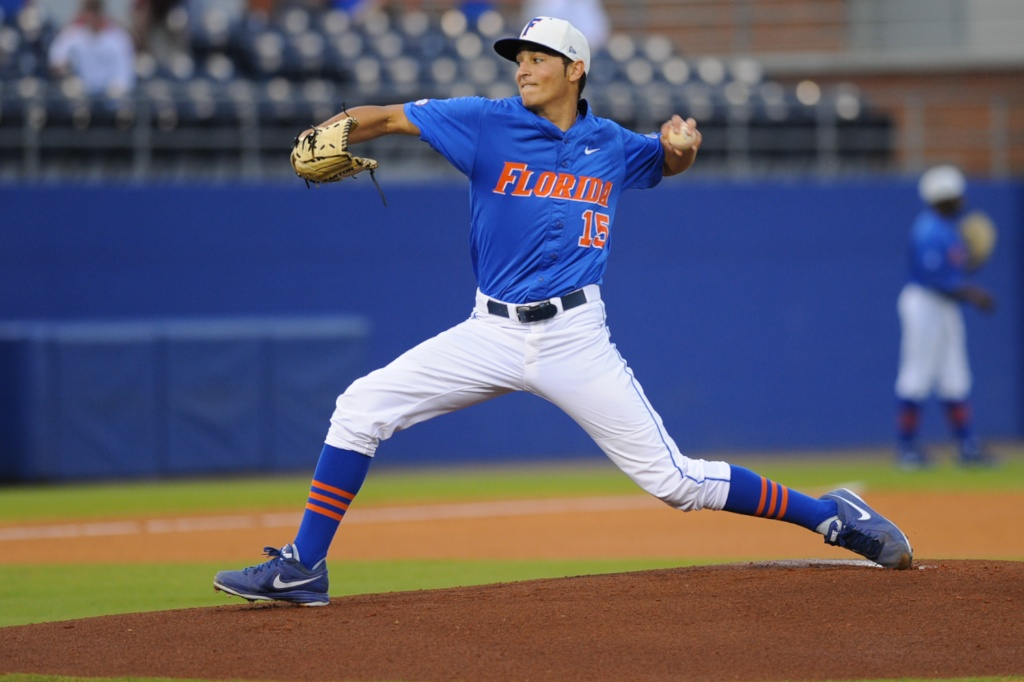Florida pitcher, Danny Young (15). Florida defeated South Carolina 4-3 Friday night.