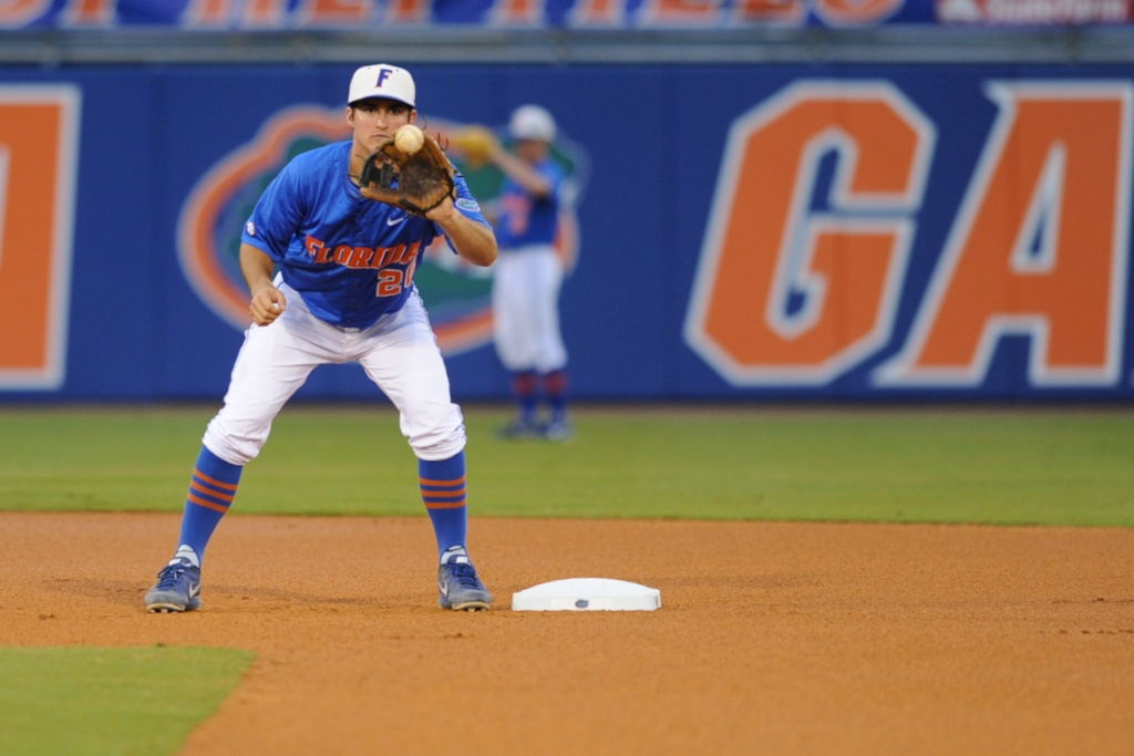 Cody Dent (20) warms up as Florida takes the field against South Carolina friday. Florida pitcher, Danny Young (15). Florida defeated South Carolina 4-3 Friday night.