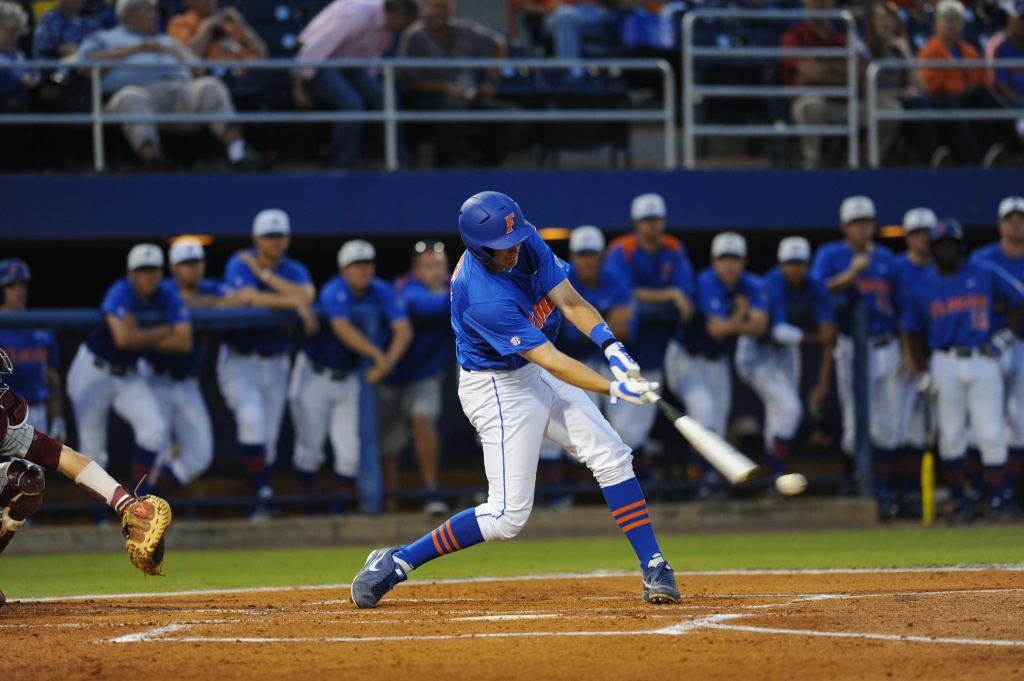 Justin Shafer (16) up to bat for the Florida Gators. Florida defeated South Carolina 4-3 Friday night.