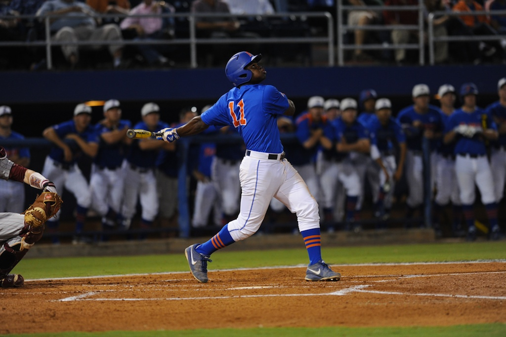 Third-baseman Josh Tobias (11). Florida defeated South Carolina 4-3 Friday night.