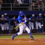 Catcher Taylor Gushue up to bat for the Gators friday night. Florida defeated South Carolina 4-3 Friday night.