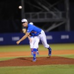 Pitcher Danny Young (15). Florida defeated South Carolina 4-3 Friday night.