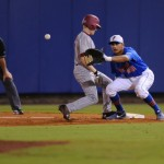 Vickash Ramjit (30) attempts to get base-runner out Friday night. Florida defeated South Carolina 4-3 Friday night.