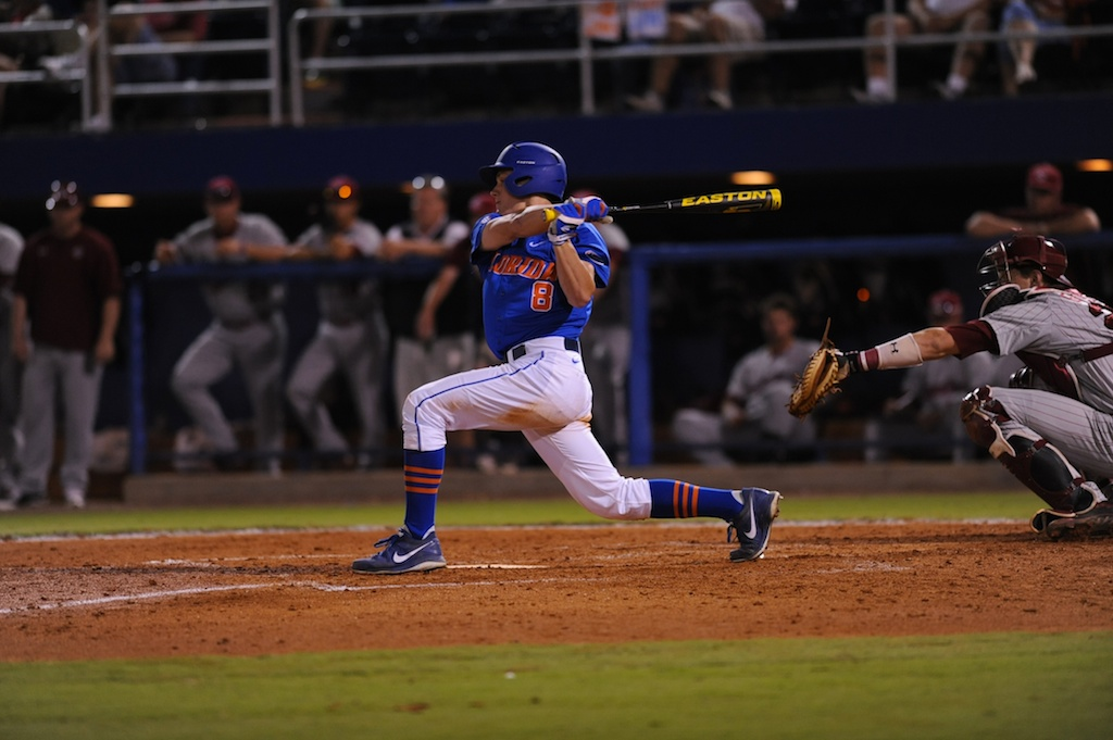 Harrison Bader (8). Florida defeated South Carolina 4-3 Friday night.