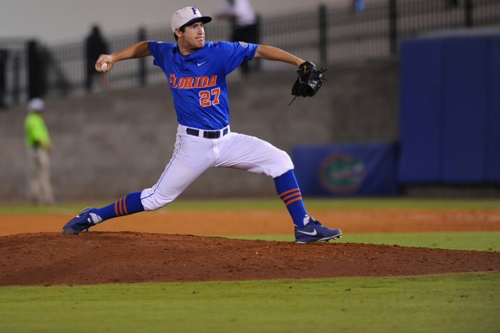 Florida pitcher Aaron Rhodes (27). Florida defeated South Carolina 4-3 Friday night.