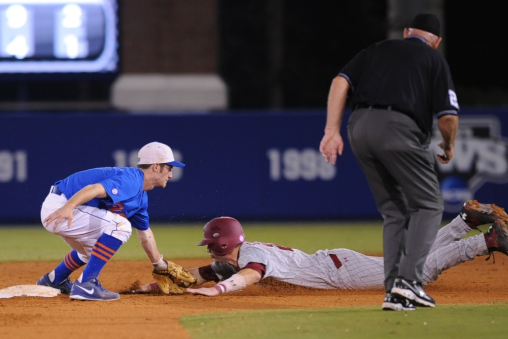 Casey Turgeon (2) gets an out for the Gators on second base Friday night. Florida defeated South Carolina 4-3 Friday night.