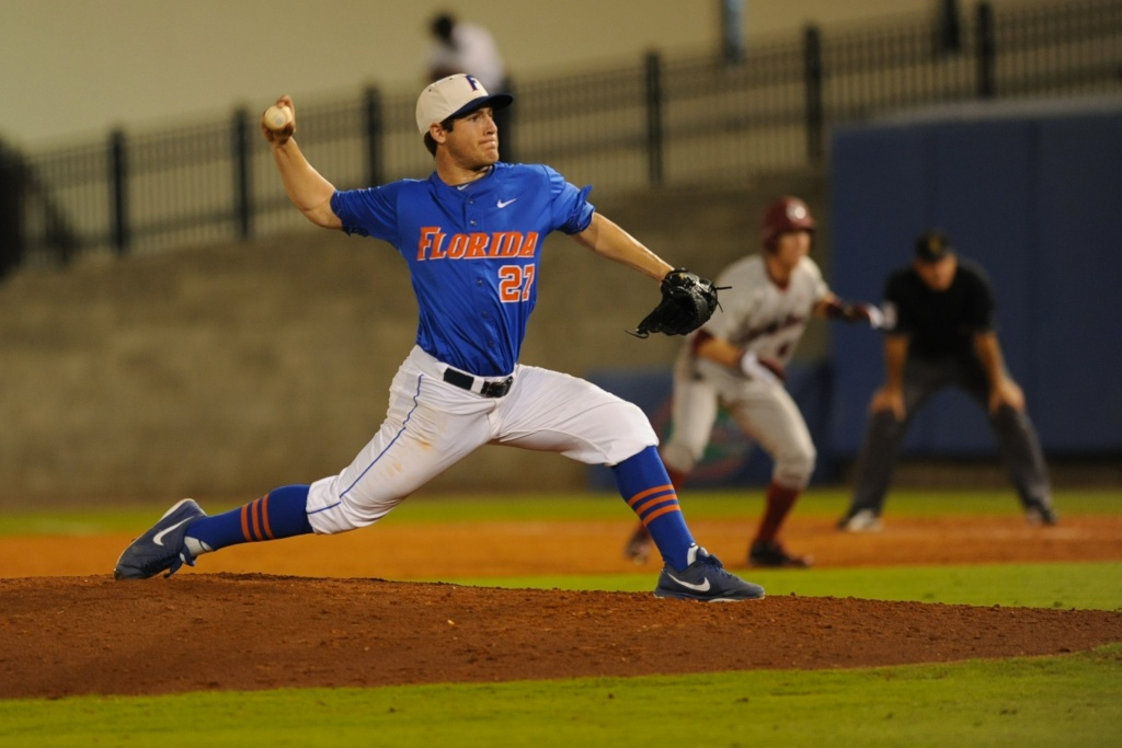 Pitcher Aaron Rhodes (27). Florida defeated South Carolina 4-3 Friday night.